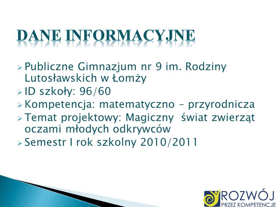 Dane INFORMACYJNE Publiczne Gimnazjum nr 9 im. Rodziny Lutosławskich w Łomży. ID szkoły: 96/60. Kompetencja: matematyczno – przyrodnicza.