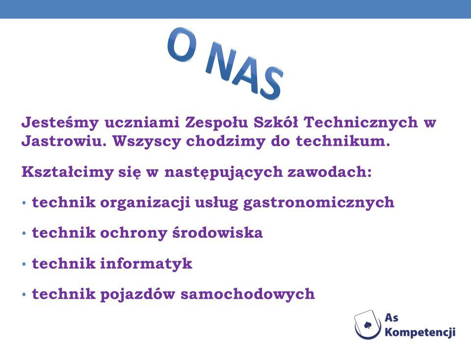 O nas Jesteśmy uczniami Zespołu Szkół Technicznych w Jastrowiu. Wszyscy chodzimy do technikum. Kształcimy się w następujących zawodach: