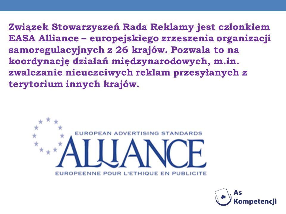 Związek Stowarzyszeń Rada Reklamy jest członkiem EASA Alliance – europejskiego zrzeszenia organizacji samoregulacyjnych z 26 krajów.