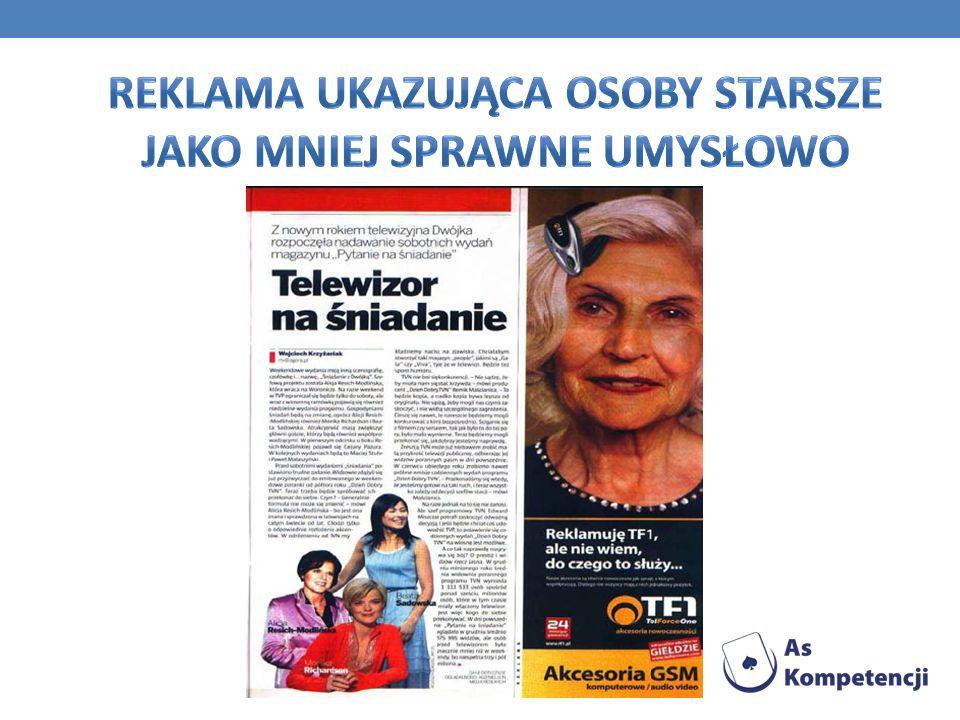 Reklama ukazująca osoby Starsze jako mniej sprawne umysłowo