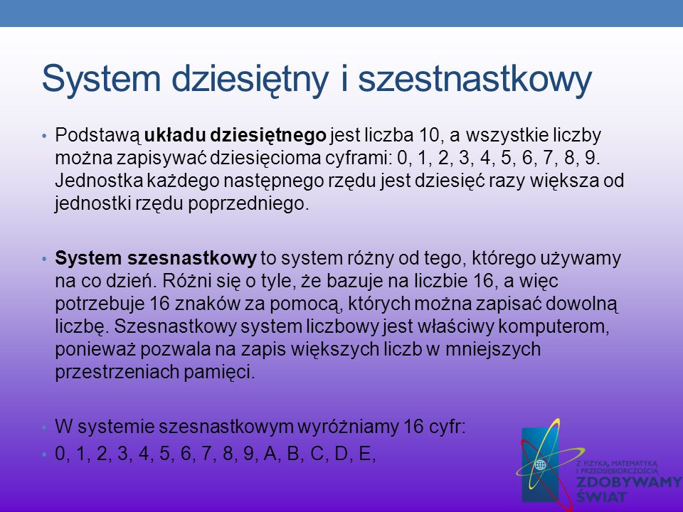 System dziesiętny i szestnastkowy