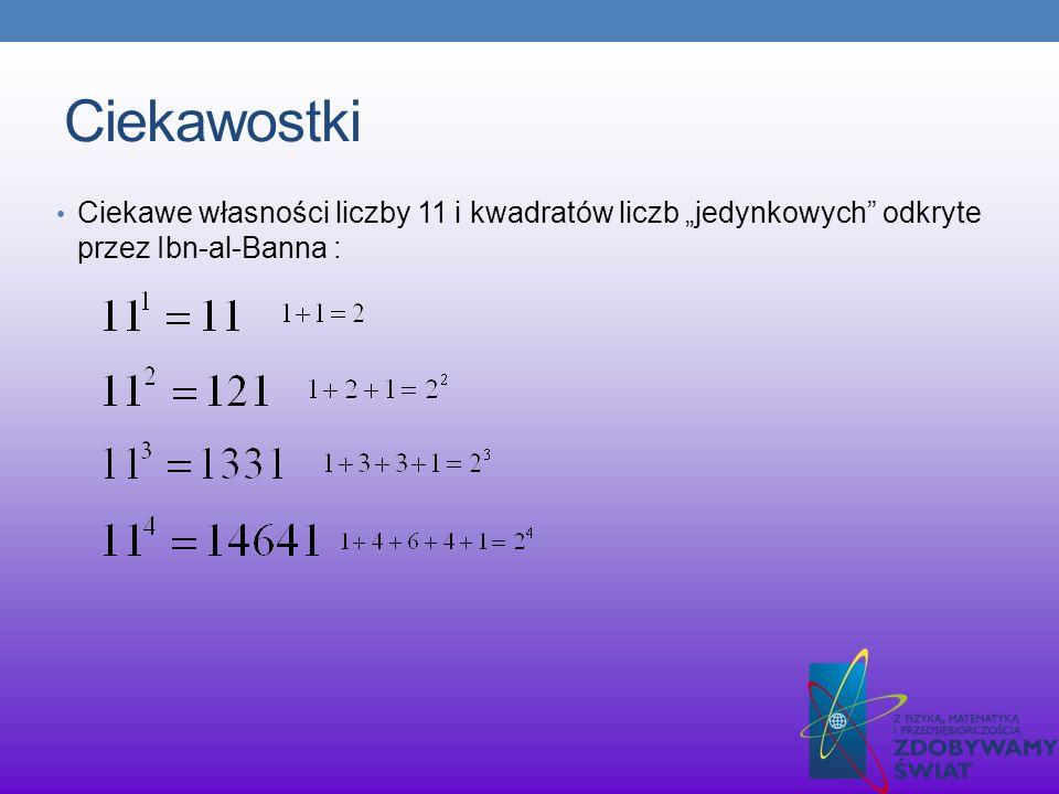 """Ciekawostki Ciekawe własności liczby 11 i kwadratów liczb """"jedynkowych odkryte przez Ibn-al-Banna :"""