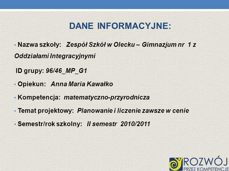 Dane INFORMACYJNE: Nazwa szkoły: Zespół Szkół w Olecku – Gimnazjum nr 1 z Oddziałami Integracyjnymi.