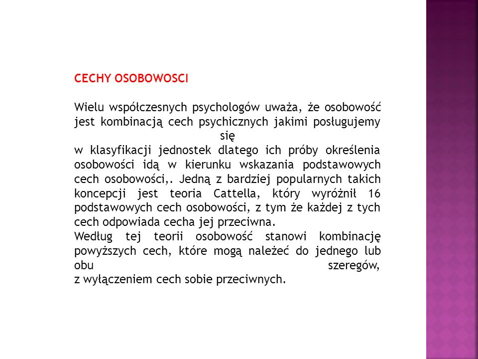CECHY OSOBOWOSCI