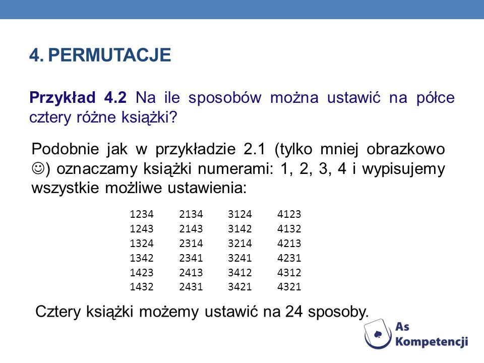 4. Permutacje Przykład 4.2 Na ile sposobów można ustawić na półce cztery różne książki