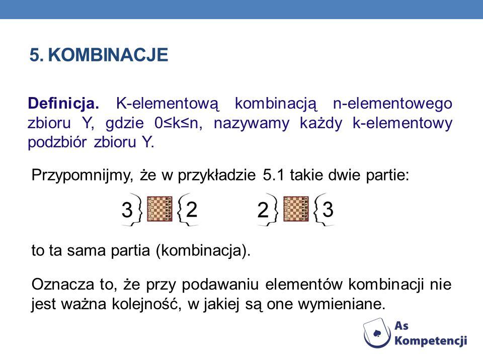 5. Kombinacje Definicja. K-elementową kombinacją n-elementowego zbioru Y, gdzie 0≤k≤n, nazywamy każdy k-elementowy podzbiór zbioru Y.