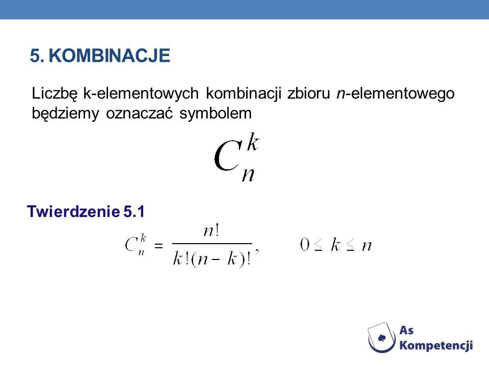 5. Kombinacje Liczbę k-elementowych kombinacji zbioru n-elementowego będziemy oznaczać symbolem.