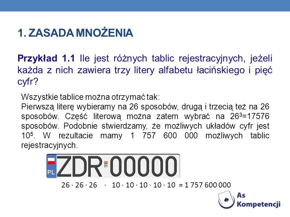 1. Zasada mnożenia Przykład 1.1 Ile jest różnych tablic rejestracyjnych, jeżeli każda z nich zawiera trzy litery alfabetu łacińskiego i pięć cyfr
