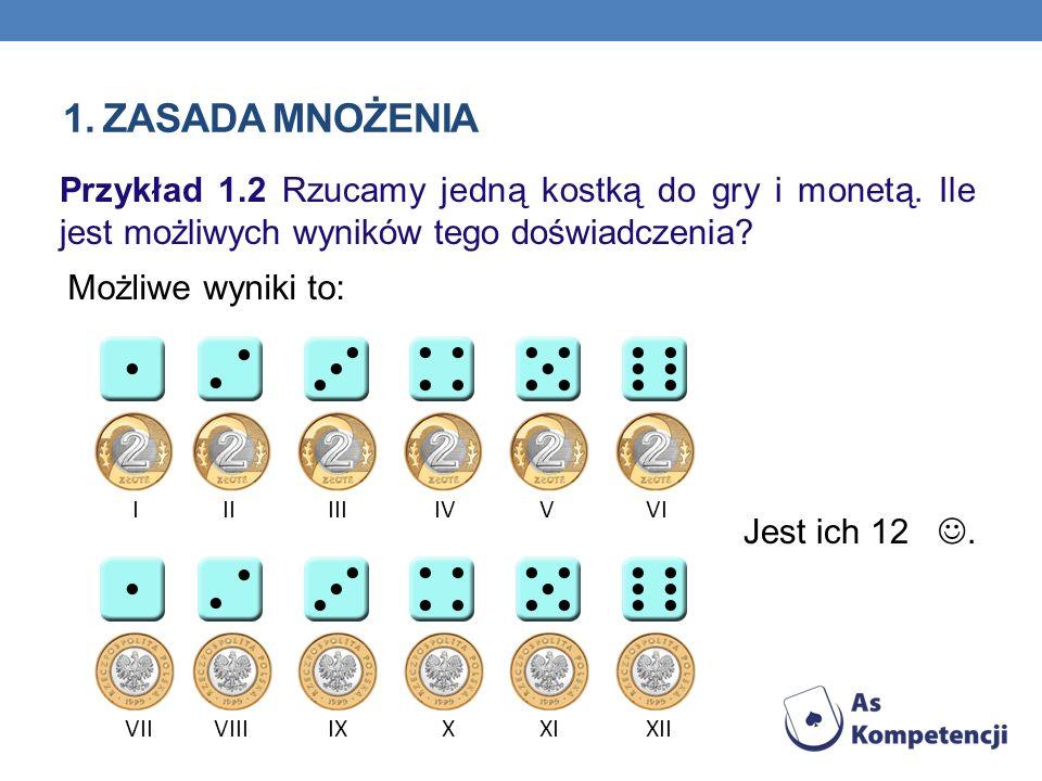 1. Zasada mnożenia Przykład 1.2 Rzucamy jedną kostką do gry i monetą. Ile jest możliwych wyników tego doświadczenia
