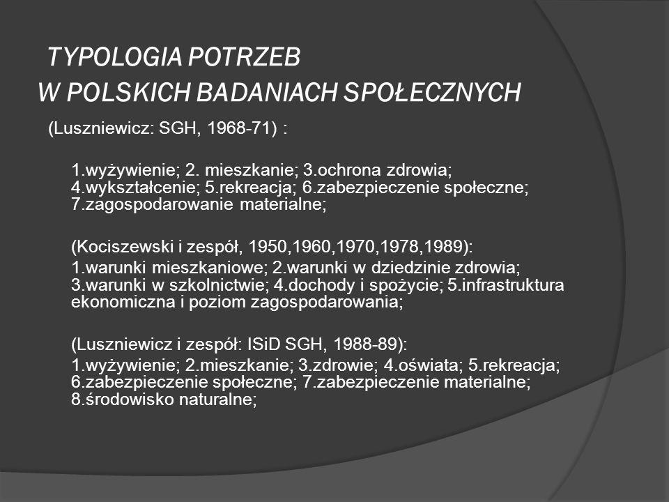 TYPOLOGIA POTRZEB W POLSKICH BADANIACH SPOŁECZNYCH