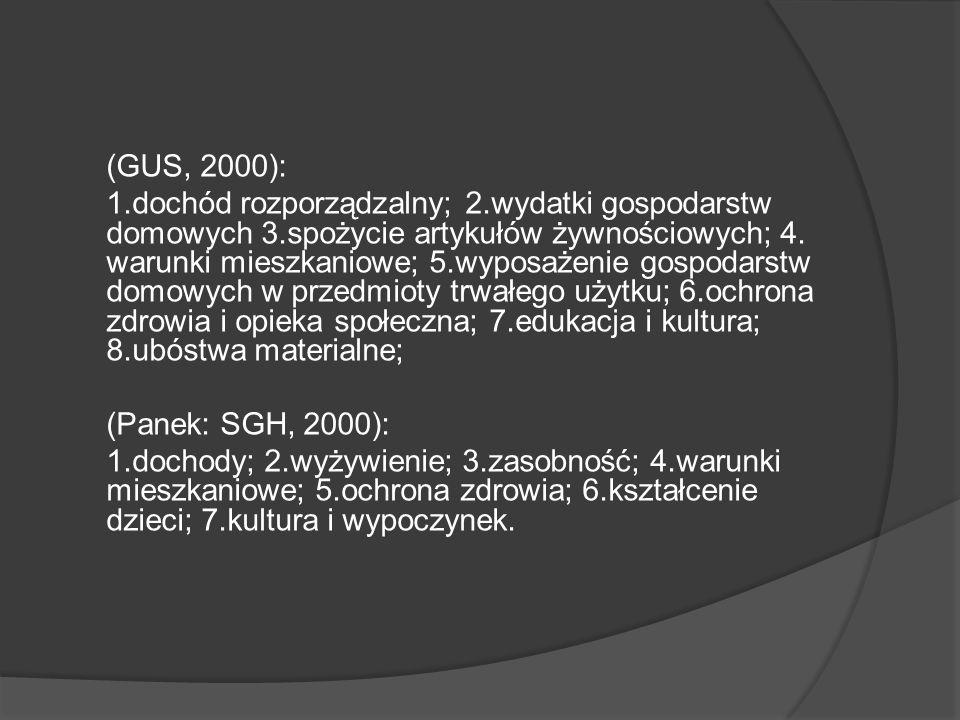 (GUS, 2000): 1. dochód rozporządzalny; 2