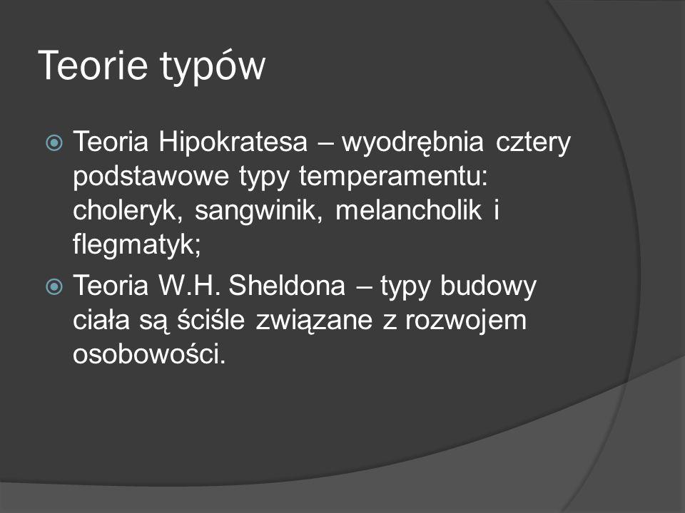 Teorie typów Teoria Hipokratesa – wyodrębnia cztery podstawowe typy temperamentu: choleryk, sangwinik, melancholik i flegmatyk;