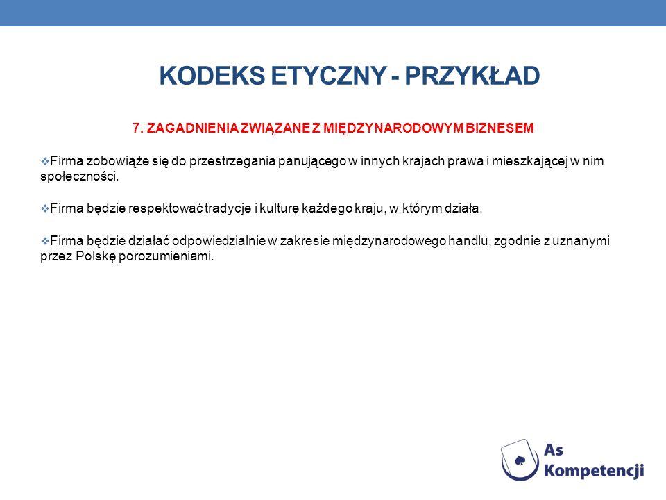 Kodeks etyczny - przykład