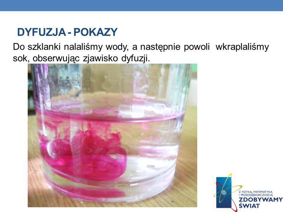 Dyfuzja - pokazy Do szklanki nalaliśmy wody, a następnie powoli wkraplaliśmy sok, obserwując zjawisko dyfuzji.