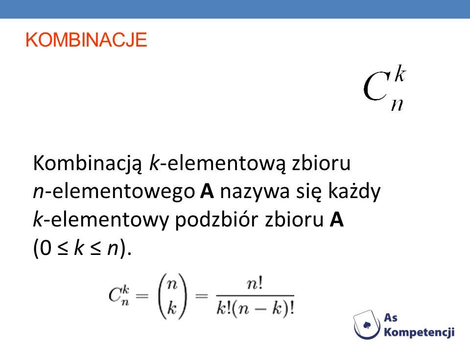 kOMBINACJE Kombinacją k-elementową zbioru n-elementowego A nazywa się każdy k-elementowy podzbiór zbioru A (0 ≤ k ≤ n).