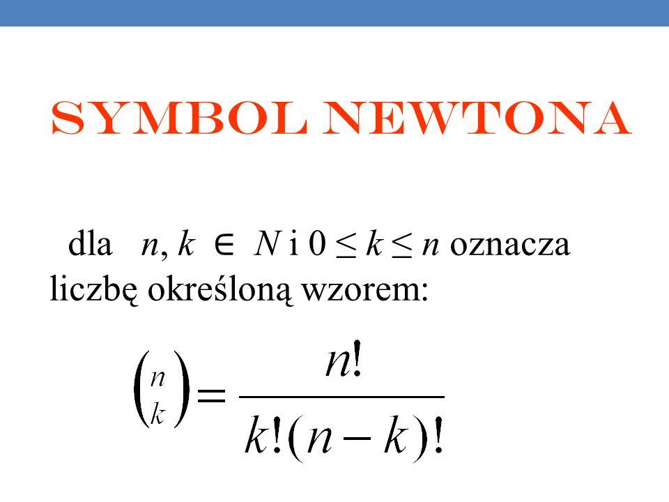 Symbol Newtona dla n, k ∈ N i 0 ≤ k ≤ n oznacza liczbę określoną wzorem: