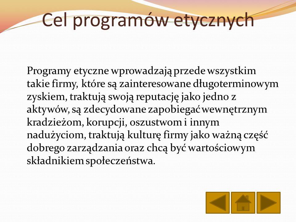 Cel programów etycznych