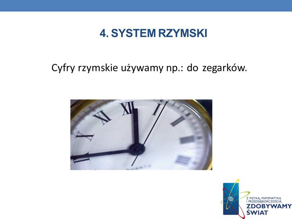 Cyfry rzymskie używamy np.: do zegarków.