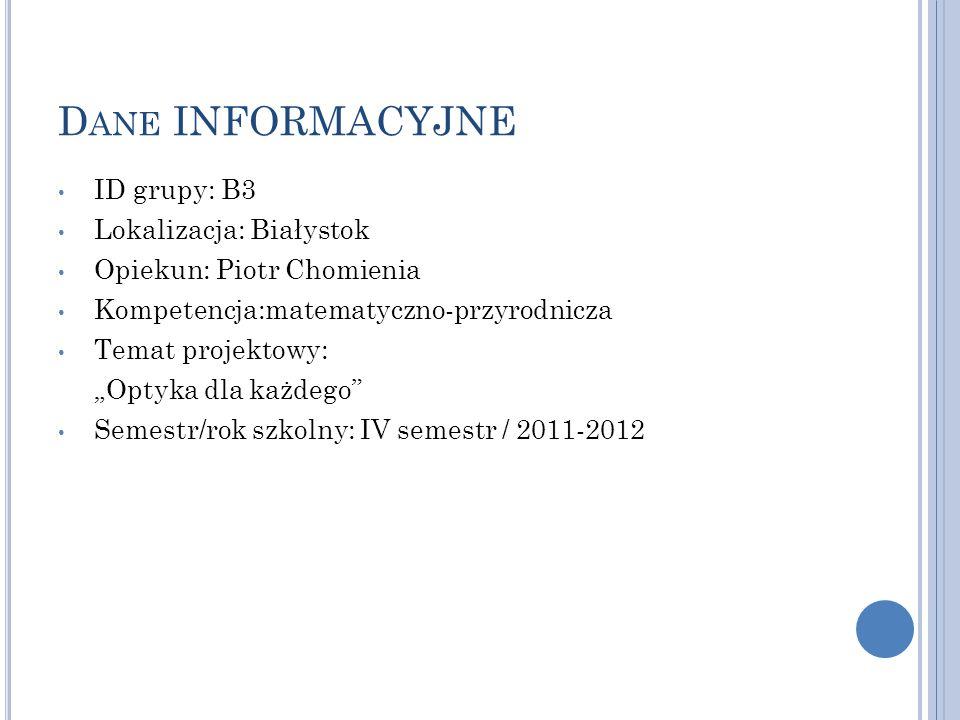 Dane INFORMACYJNE ID grupy: B3 Lokalizacja: Białystok