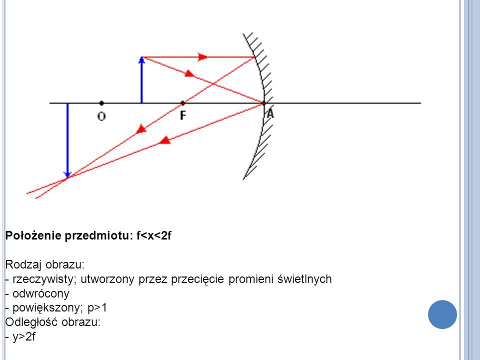 Położenie przedmiotu: f<x<2f Rodzaj obrazu: - rzeczywisty; utworzony przez przecięcie promieni świetlnych - odwrócony - powiększony; p>1 Odległość obrazu: - y>2f