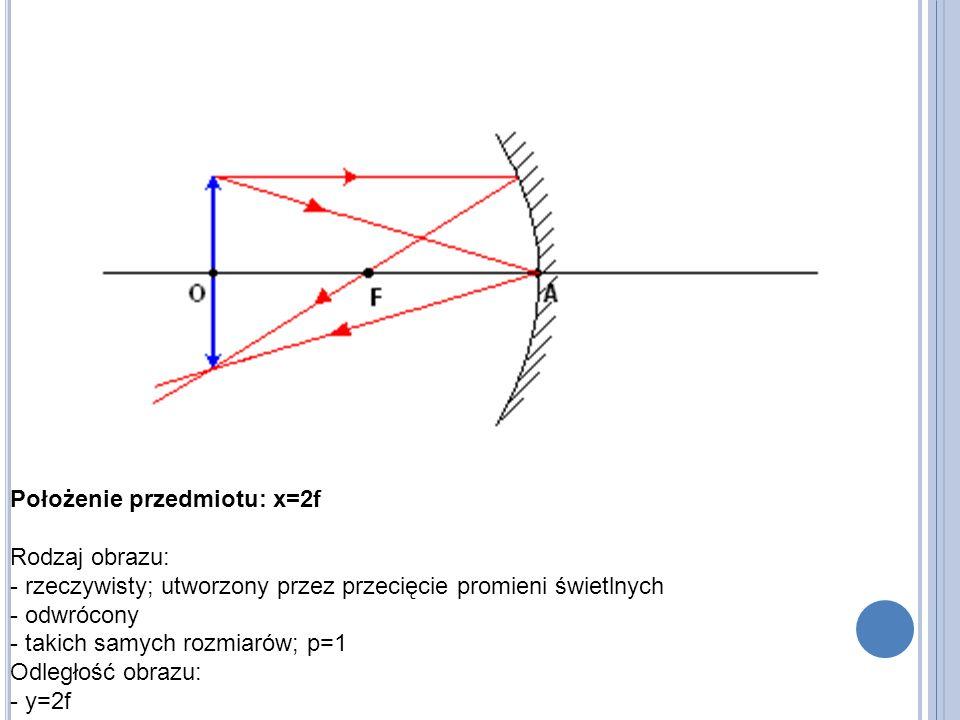 Położenie przedmiotu: x=2f Rodzaj obrazu: - rzeczywisty; utworzony przez przecięcie promieni świetlnych - odwrócony - takich samych rozmiarów; p=1 Odległość obrazu: - y=2f