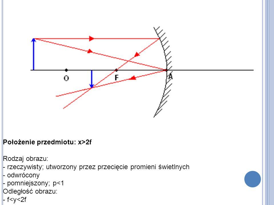 Położenie przedmiotu: x>2f Rodzaj obrazu: - rzeczywisty; utworzony przez przecięcie promieni świetlnych - odwrócony - pomniejszony; p<1 Odległość obrazu: - f<y<2f