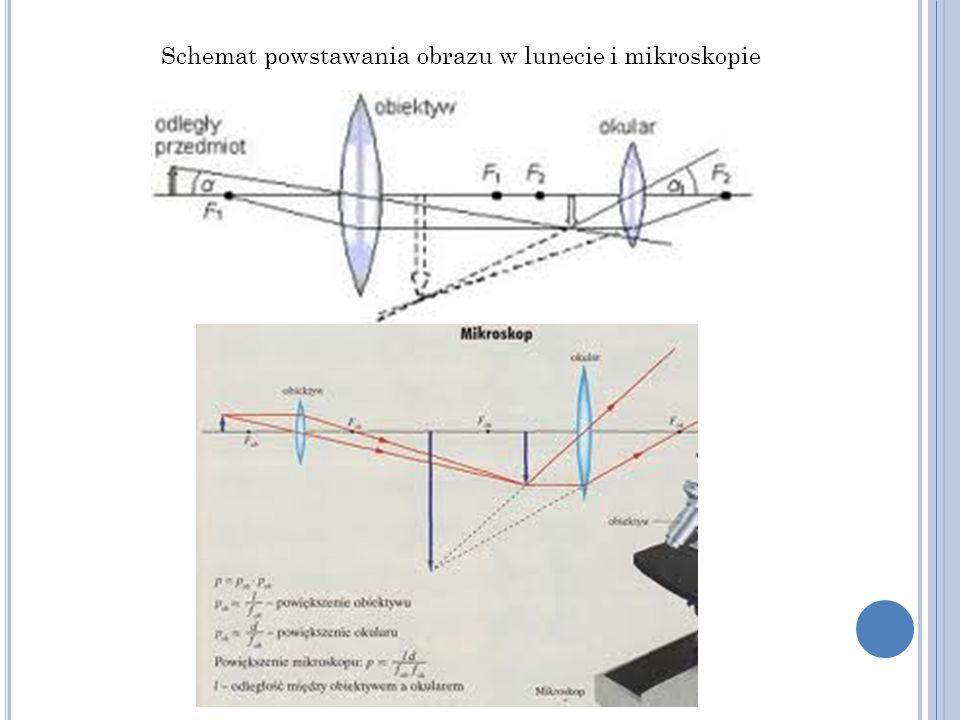 Schemat powstawania obrazu w lunecie i mikroskopie