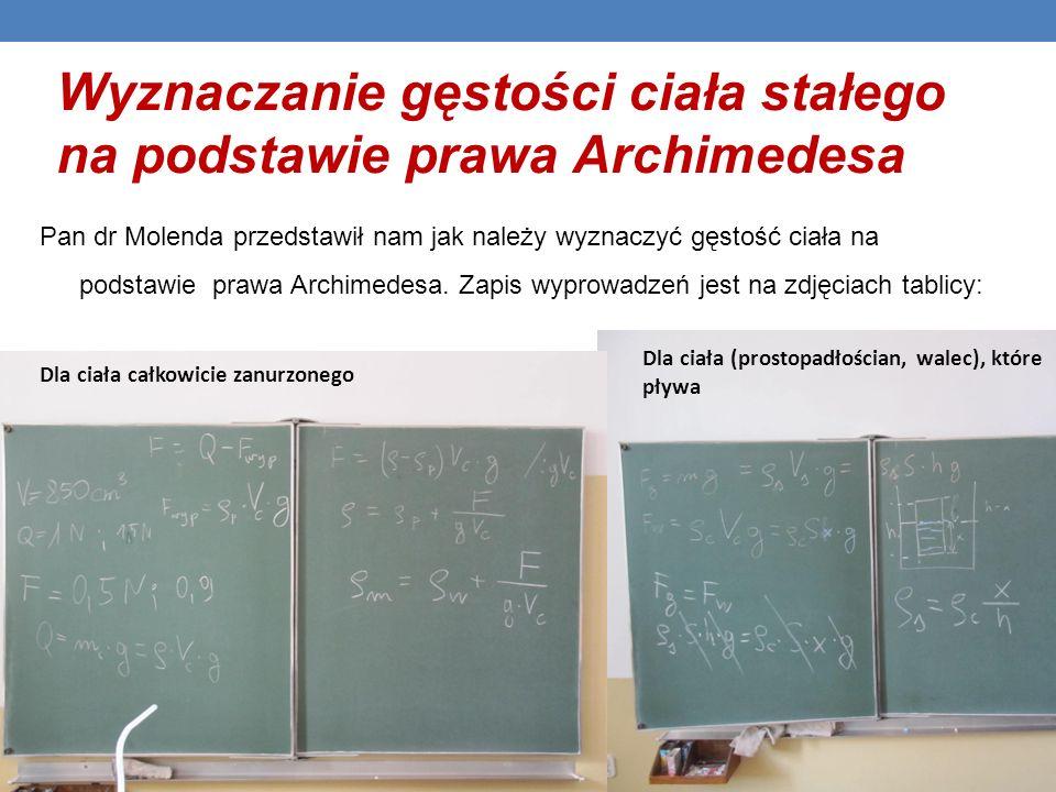 Wyznaczanie gęstości ciała stałego na podstawie prawa Archimedesa