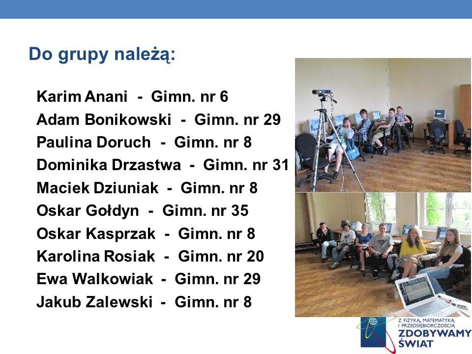 Do grupy należą: Karim Anani - Gimn. nr 6