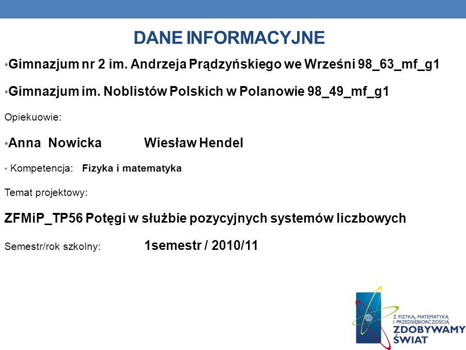 Dane INFORMACYJNE Gimnazjum nr 2 im. Andrzeja Prądzyńskiego we Wrześni 98_63_mf_g1. Gimnazjum im. Noblistów Polskich w Polanowie 98_49_mf_g1.