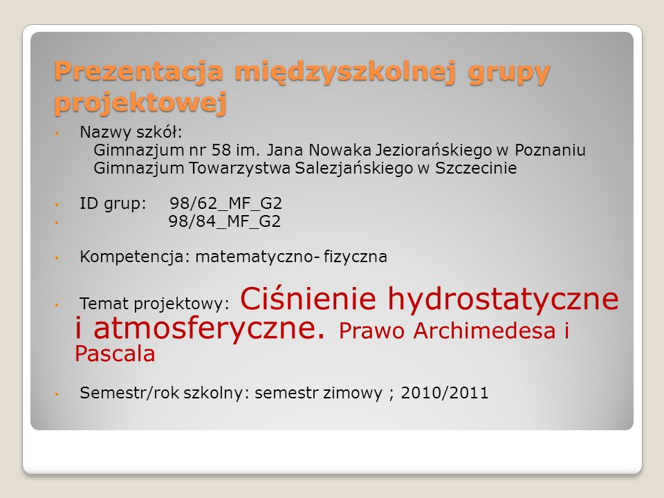 Prezentacja międzyszkolnej grupy projektowej