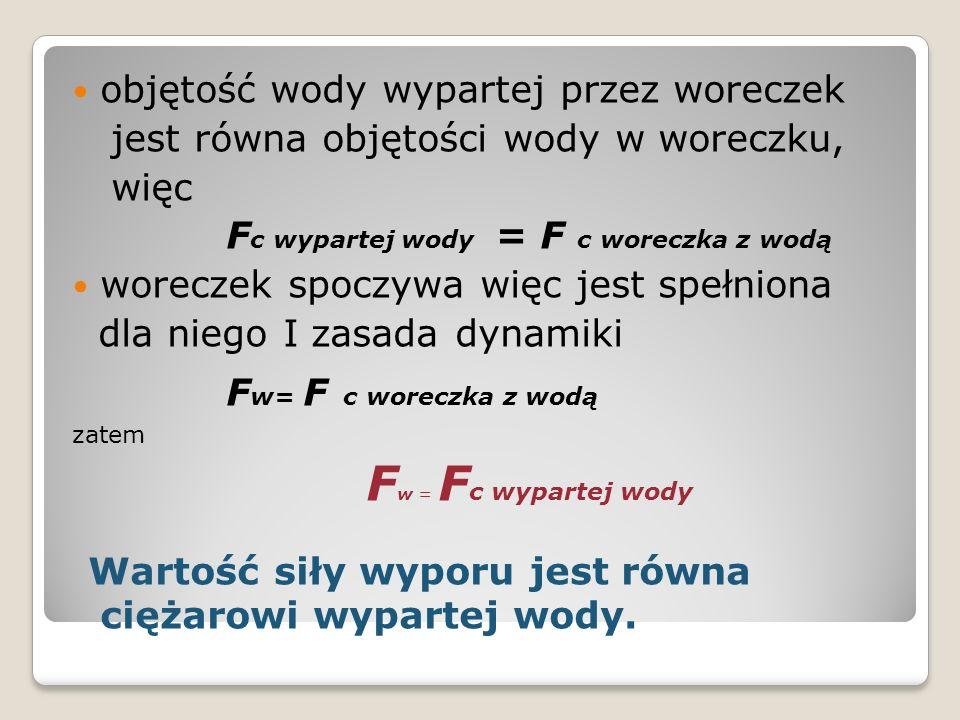 Fw = Fc wypartej wody objętość wody wypartej przez woreczek