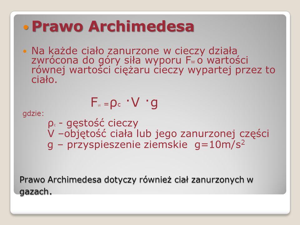 Prawo Archimedesa dotyczy również ciał zanurzonych w gazach.