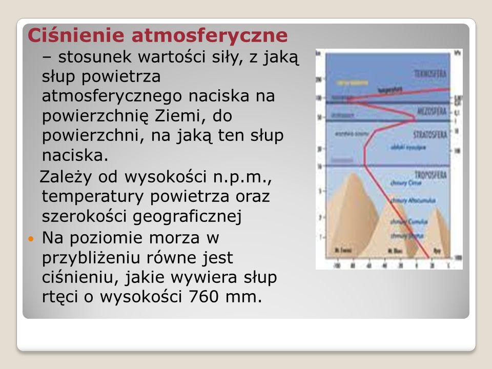 Ciśnienie atmosferyczne – stosunek wartości siły, z jaką słup powietrza atmosferycznego naciska na powierzchnię Ziemi, do powierzchni, na jaką ten słup naciska.