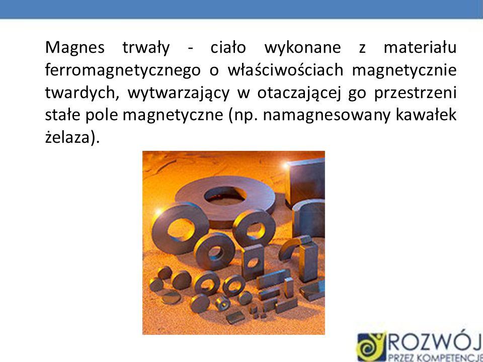 Magnes trwały - ciało wykonane z materiału ferromagnetycznego o właściwościach magnetycznie twardych, wytwarzający w otaczającej go przestrzeni stałe pole magnetyczne (np.