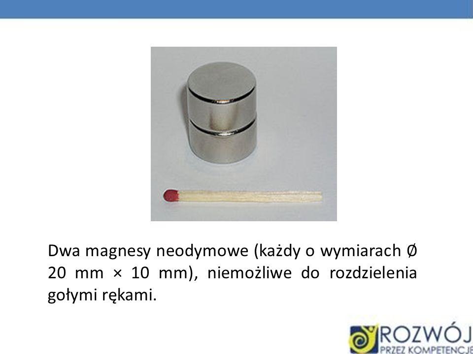 Dwa magnesy neodymowe (każdy o wymiarach ∅ 20 mm × 10 mm), niemożliwe do rozdzielenia gołymi rękami.