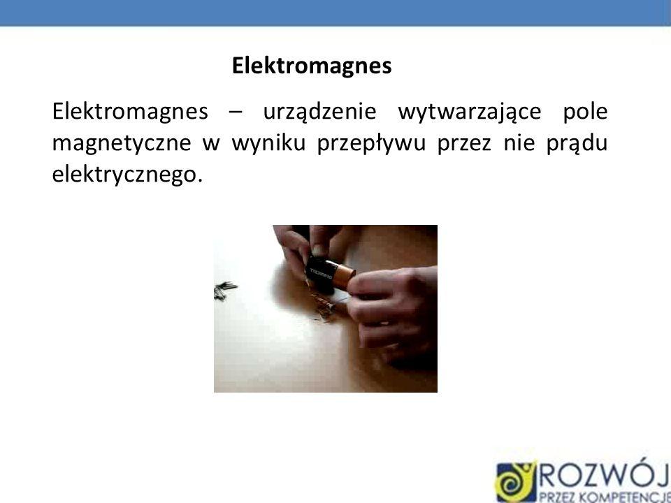 Elektromagnes Elektromagnes – urządzenie wytwarzające pole magnetyczne w wyniku przepływu przez nie prądu elektrycznego.