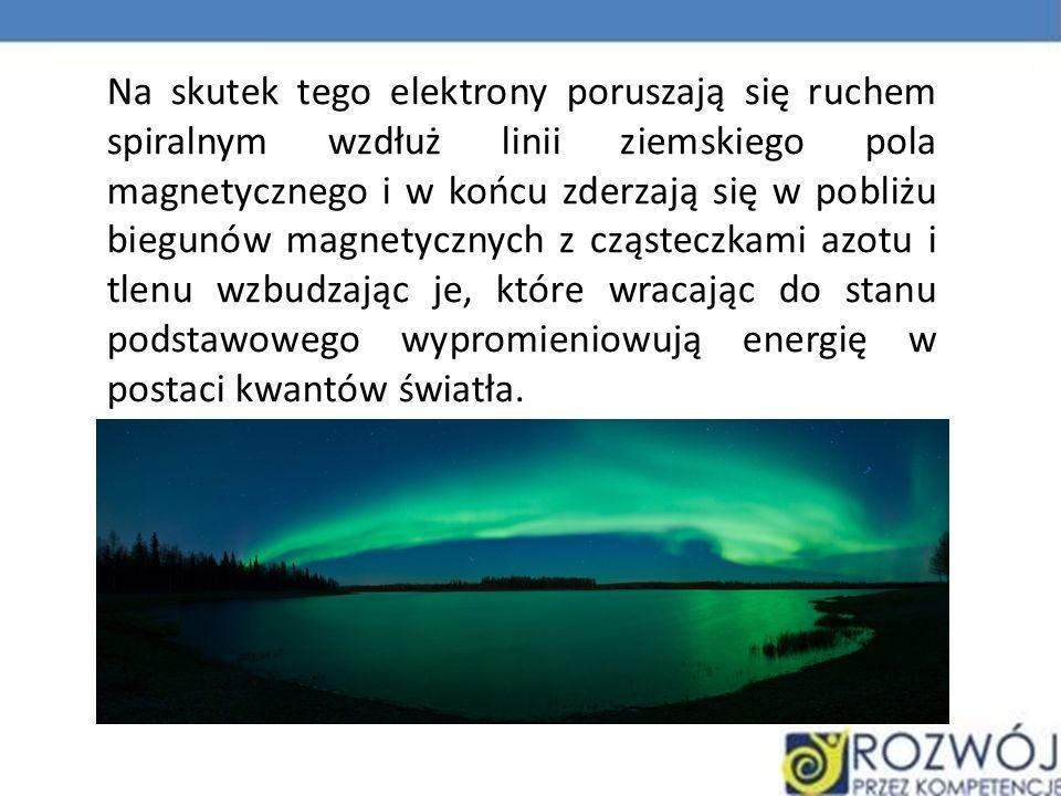 Na skutek tego elektrony poruszają się ruchem spiralnym wzdłuż linii ziemskiego pola magnetycznego i w końcu zderzają się w pobliżu biegunów magnetycznych z cząsteczkami azotu i tlenu wzbudzając je, które wracając do stanu podstawowego wypromieniowują energię w postaci kwantów światła.