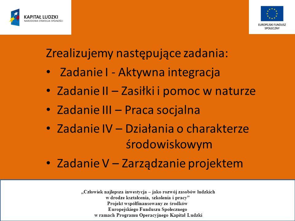 Zrealizujemy następujące zadania: Zadanie I - Aktywna integracja