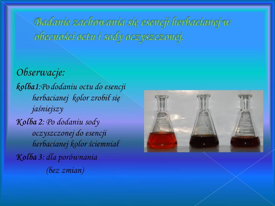 Badanie zachowania się esencji herbacianej w obecności octu i sody oczyszczonej.