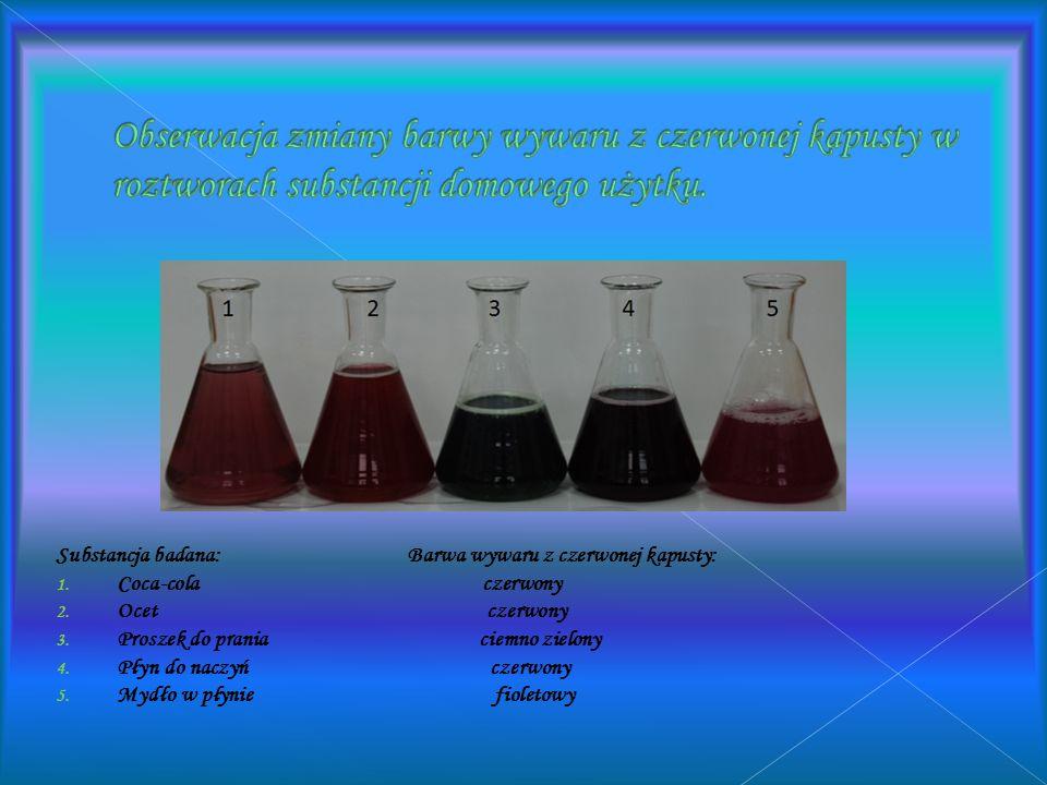Obserwacja zmiany barwy wywaru z czerwonej kapusty w roztworach substancji domowego użytku.