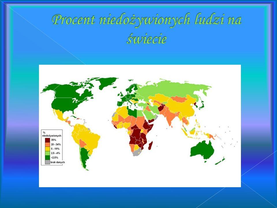 Procent niedożywionych ludzi na świecie