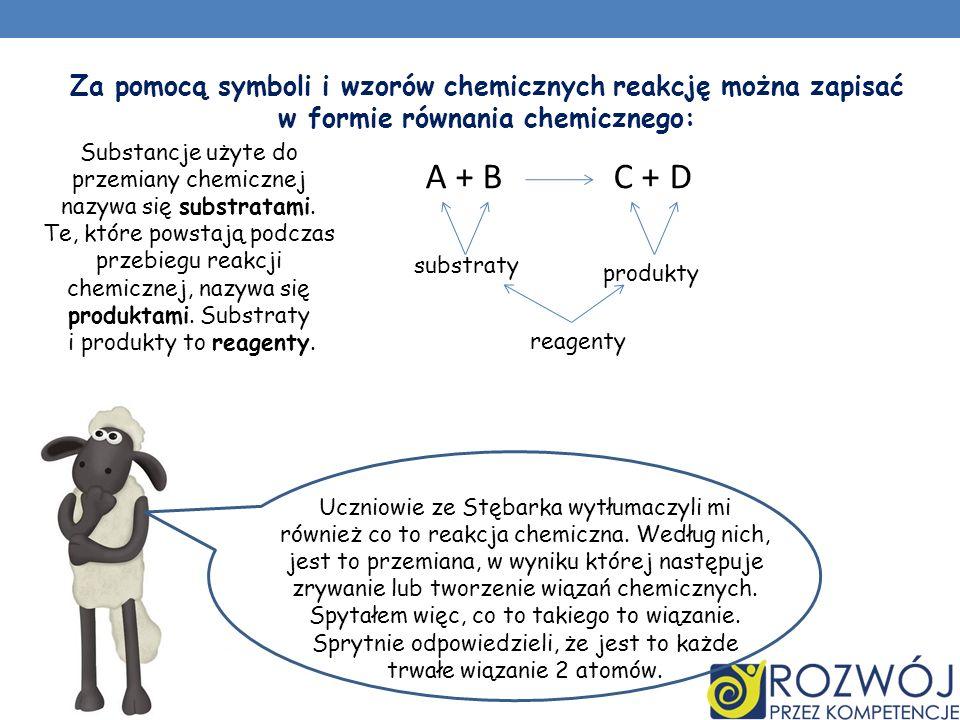 Substancje użyte do przemiany chemicznej nazywa się substratami.