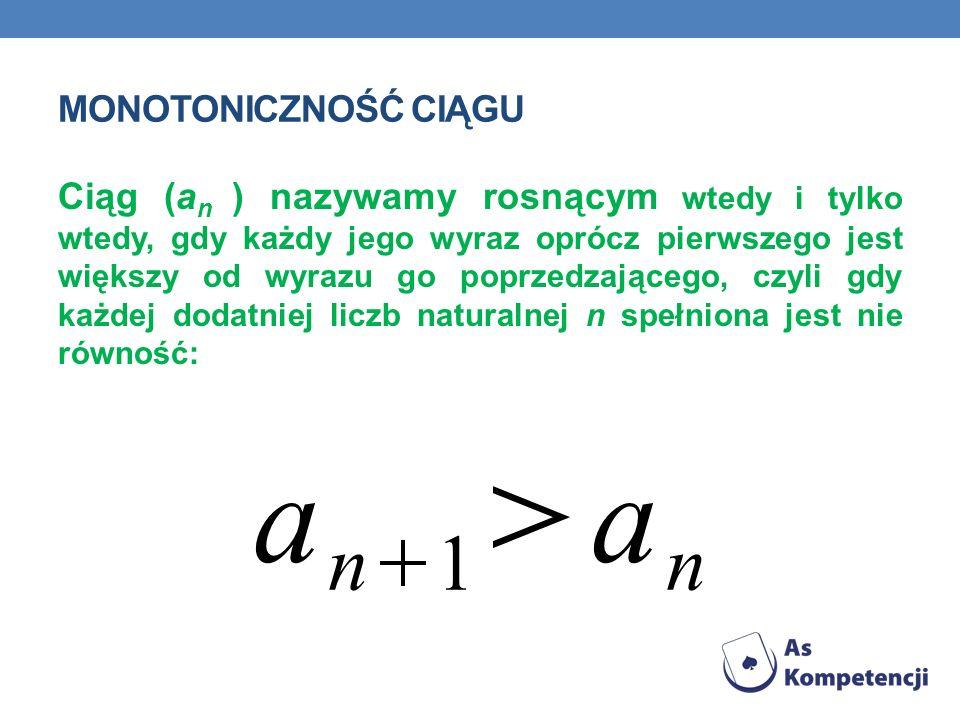 a n 1 Monotoniczność ciągu