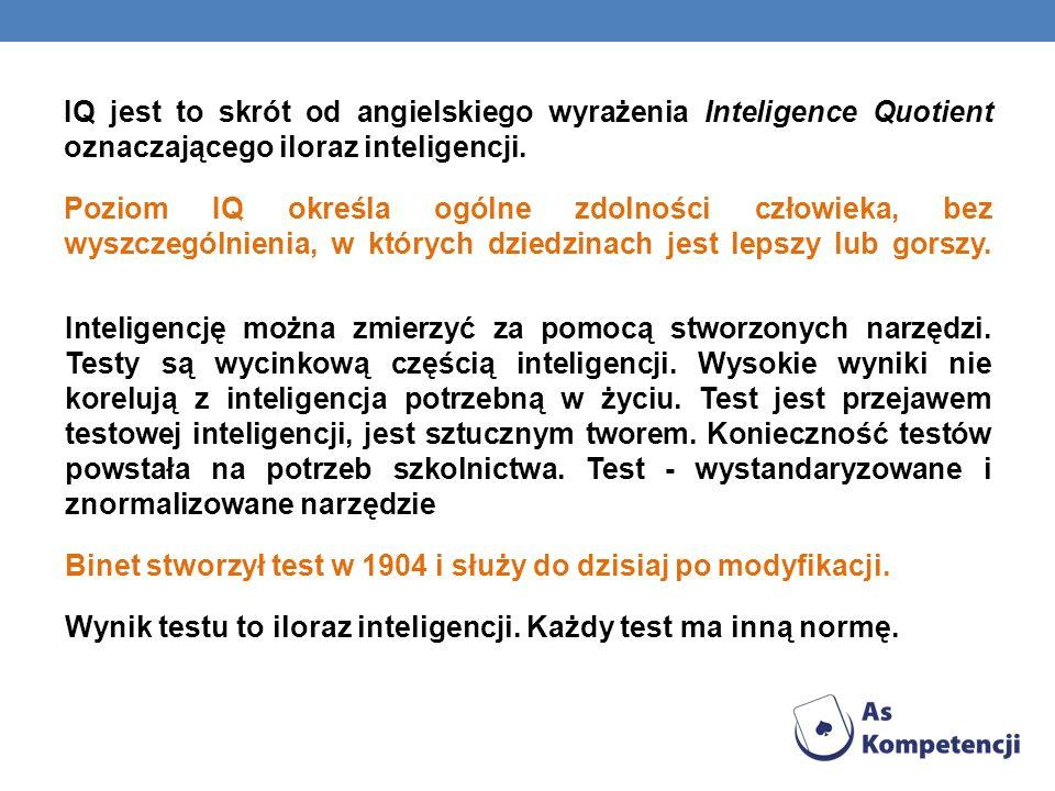 IQ jest to skrót od angielskiego wyrażenia Inteligence Quotient oznaczającego iloraz inteligencji. Poziom IQ określa ogólne zdolności człowieka, bez wyszczególnienia, w których dziedzinach jest lepszy lub gorszy.