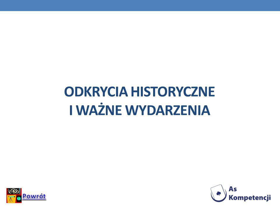 Odkrycia historyczne i ważne wydarzenia
