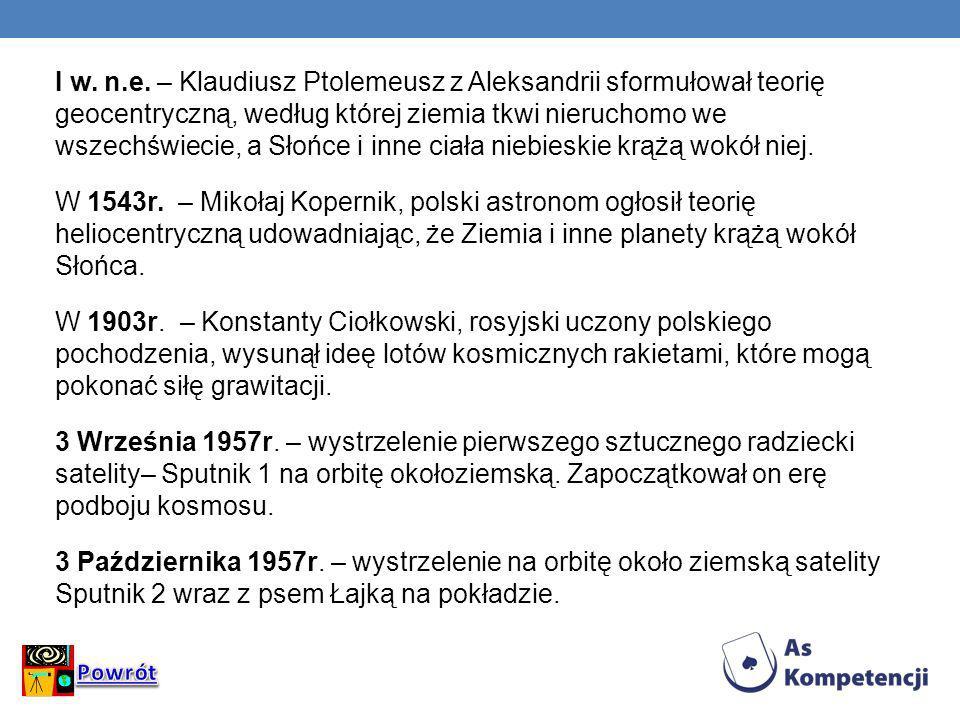 I w. n.e. – Klaudiusz Ptolemeusz z Aleksandrii sformułował teorię geocentryczną, według której ziemia tkwi nieruchomo we wszechświecie, a Słońce i inne ciała niebieskie krążą wokół niej. W 1543r. – Mikołaj Kopernik, polski astronom ogłosił teorię heliocentryczną udowadniając, że Ziemia i inne planety krążą wokół Słońca. W 1903r. – Konstanty Ciołkowski, rosyjski uczony polskiego pochodzenia, wysunął ideę lotów kosmicznych rakietami, które mogą pokonać siłę grawitacji. 3 Września 1957r. – wystrzelenie pierwszego sztucznego radziecki satelity– Sputnik 1 na orbitę okołoziemską. Zapoczątkował on erę podboju kosmosu. 3 Października 1957r. – wystrzelenie na orbitę około ziemską satelity Sputnik 2 wraz z psem Łajką na pokładzie.