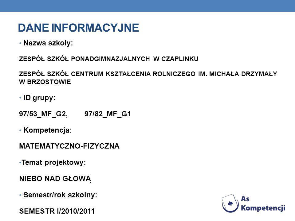 Dane INFORMACYJNE Nazwa szkoły: ID grupy: 97/53_MF_G2, 97/82_MF_G1