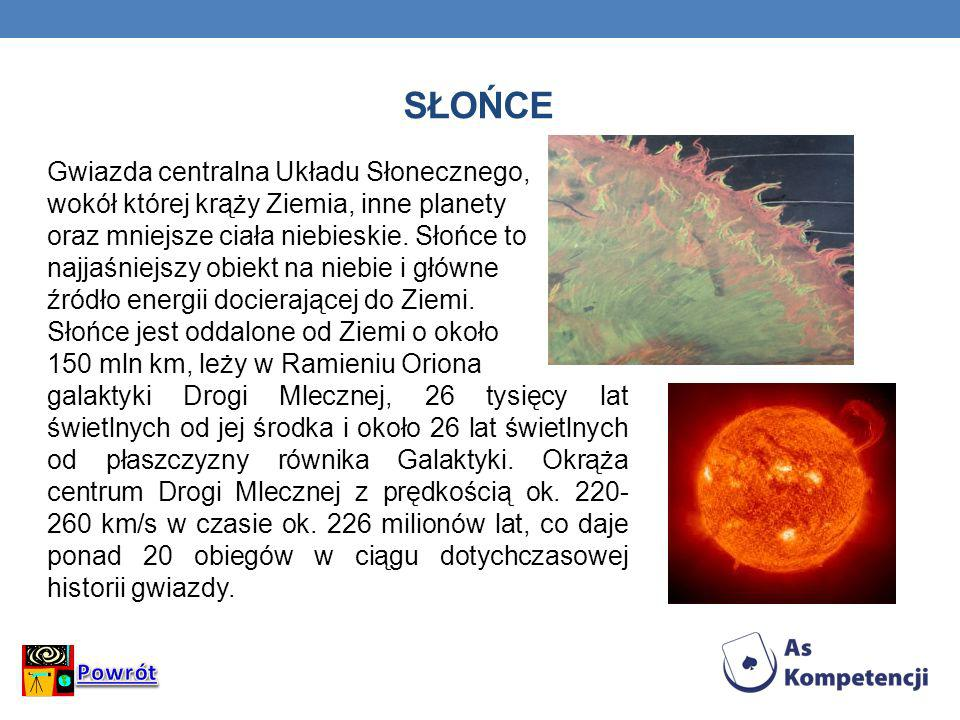 Słońce Gwiazda centralna Układu Słonecznego,
