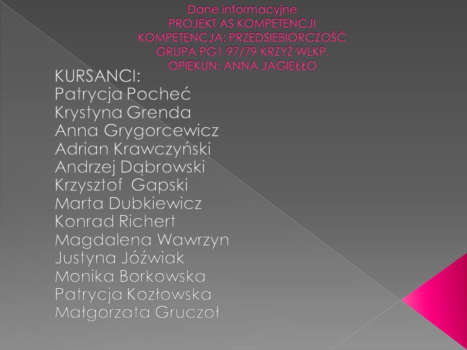 KURSANCI: Patrycja Pocheć Krystyna Grenda Anna Grygorcewicz